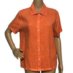 HOT COTTON Linen Button Down Shirt Orange S